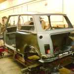Rover Mini on our purpose designed body jig