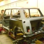 Rover Mini on our purpose designed body jig