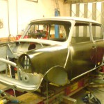 Rover Mini with new panels fitted on jig